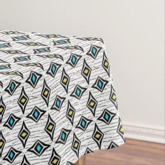 Hip modern contemporary diamond blue yellow tablecloth