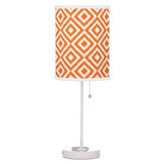 Hip Orange Ikat Diamond Squares Mosaic Pattern Table Lamp