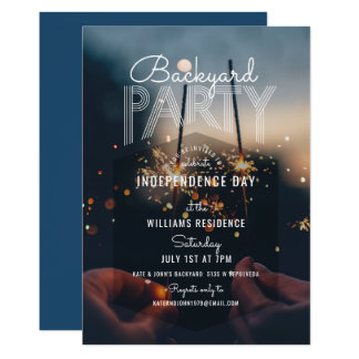 Hip Photo Outdoor Barbecue 4th of July Party Card