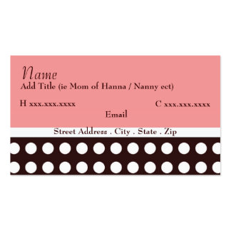 Hip Pink and Brown Mommy Card Business Card