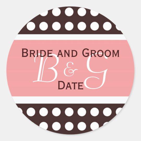 Hip Pink and Brown Wedding Monogram Sticker