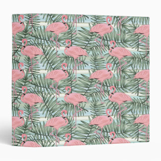 Hip Pink Flamingoes Cute Palm Leafs Pattern 3 Ring Binder