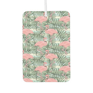 Hip Pink Flamingoes Cute Palm Leafs Pattern Car Air Freshener