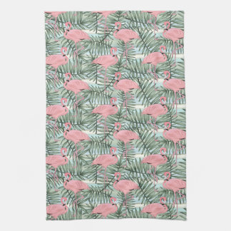 Hip Pink Flamingoes Cute Palm Leafs Pattern Kitchen Towel