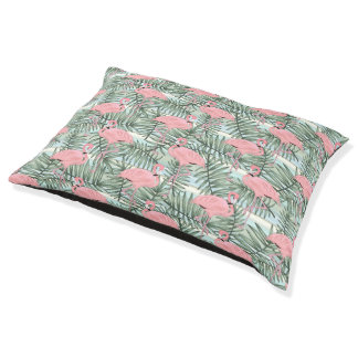 Hip Pink Flamingoes Cute Palm Leafs Pattern Pet Bed