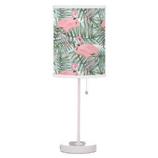 Hip Pink Flamingoes Cute Palm Leafs Pattern Table Lamp