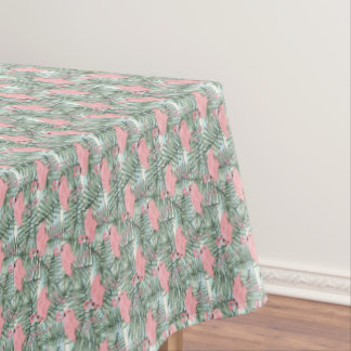 Hip Pink Flamingoes Cute Palm Leafs Pattern Tablecloth
