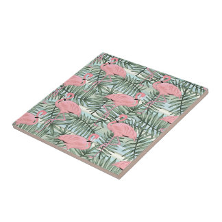 Hip Pink Flamingoes Cute Palm Leafs Pattern Tile