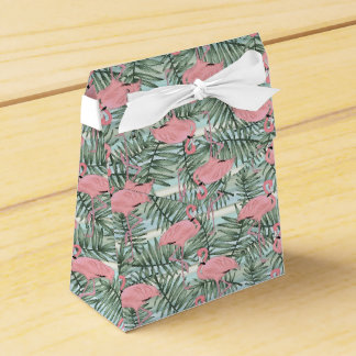 Hip Pink Flamingoes Cute Palm Leafs Pattern Wedding Favor Box