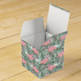 Hip Pink Flamingoes Cute Palm Leafs Pattern Wedding Favor Boxes