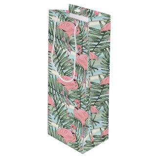 Hip Pink Flamingoes Cute Palm Leafs Pattern Wine Gift Bag