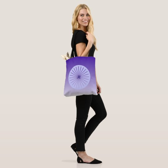 Hip purple circle with lines, monogrammed tote bag