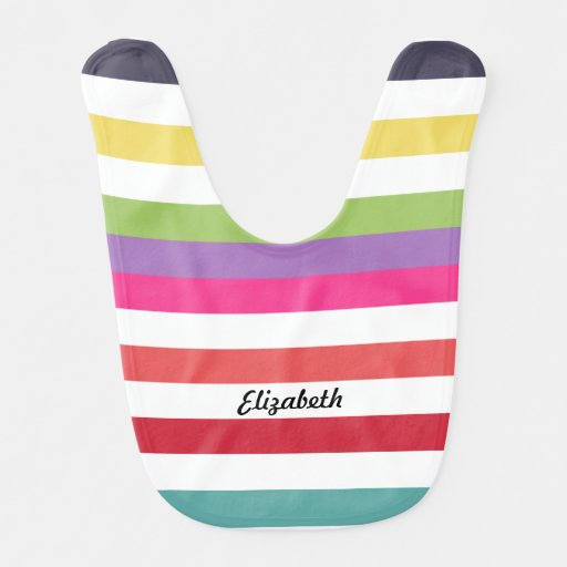 Hip Rainbow Wide Horizontal Stripes With Name Bibs