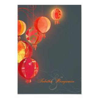 Hip Red Lanterns Charcoal Gray Wedding Card