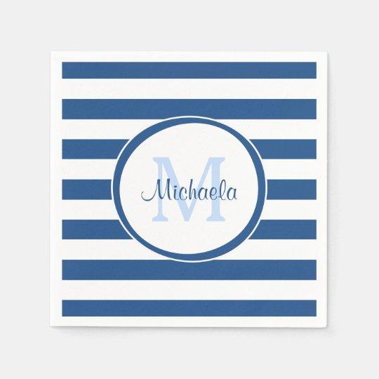 Hip Rich Blue Monogram and Horizontal Stripes Disposable Napkins