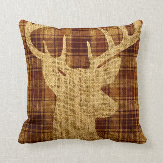 Hip Rustic Deer Silhouette on Plaid Throw Pillow