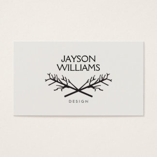 HIP RUSTIC TREE BRANCHES LOGO on LIGHT GRAY Business Card