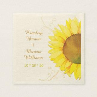 Hip Swirls, Sunflower Wedding Paper Napkins Disposable Napkin