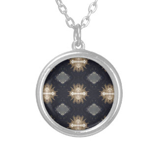 Hip Tan Gray Black Modern Pattern Silver Plated Necklace