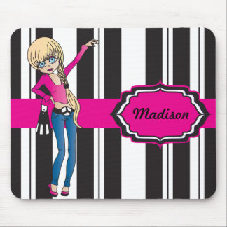 Hip Teen Girl with Black and White Stripes Mouse Pad