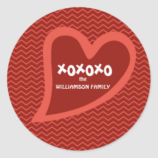 Hip & Trendy Personalized Heart XOXOXO Valentine Classic Round Sticker