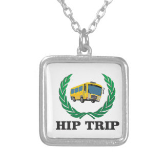 hip trip bus silver plated necklace
