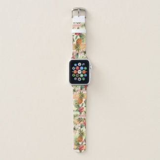 Hip Tropical Pineapple Fruit Floral Stripe Pattern Apple Watch Band
