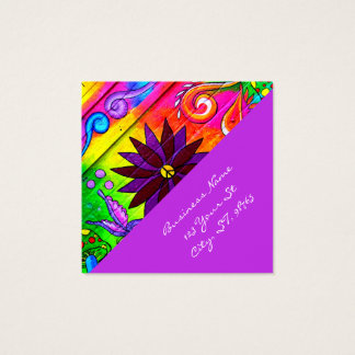 hip wild groovy 70's colors diagonal square business card