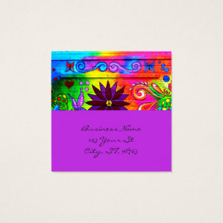 hip wild groovy 70's colors horizontal square business card