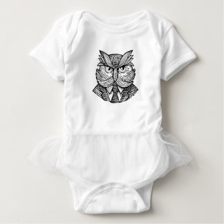 Hip Wise Owl Suit Woodcut Baby Bodysuit