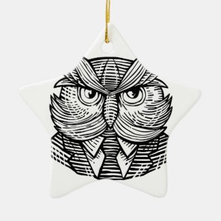 Hip Wise Owl Suit Woodcut Ceramic Ornament