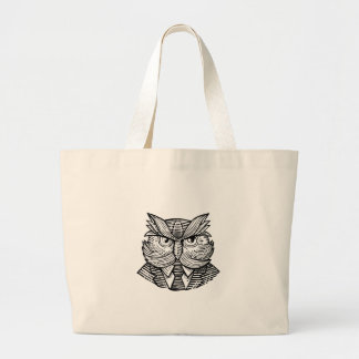Hip Wise Owl Suit Woodcut Large Tote Bag