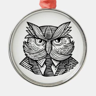 Hip Wise Owl Suit Woodcut Metal Ornament
