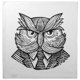 Hip Wise Owl Suit Woodcut Napkin