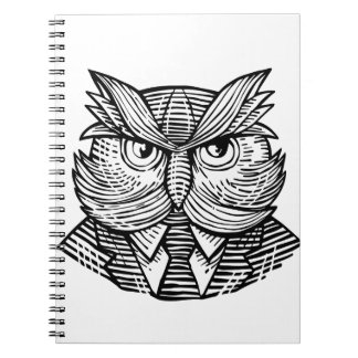 Hip Wise Owl Suit Woodcut Notebook