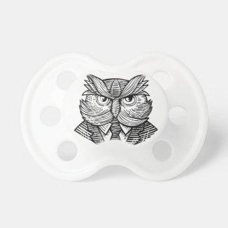 Hip Wise Owl Suit Woodcut Pacifier