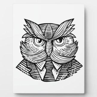 Hip Wise Owl Suit Woodcut Plaque