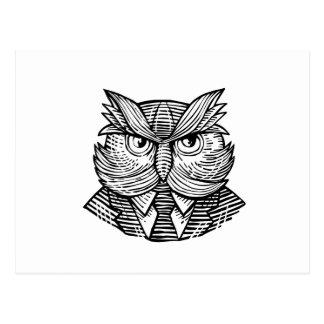 Hip Wise Owl Suit Woodcut Postcard