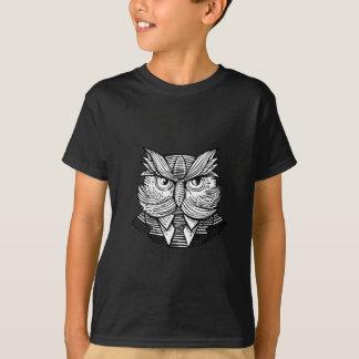 Hip Wise Owl Suit Woodcut T-Shirt
