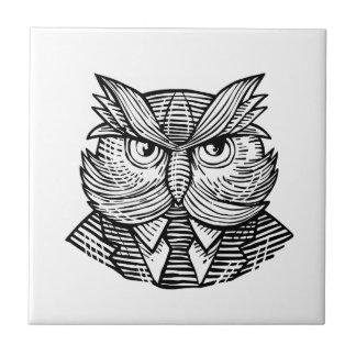 Hip Wise Owl Suit Woodcut Tile