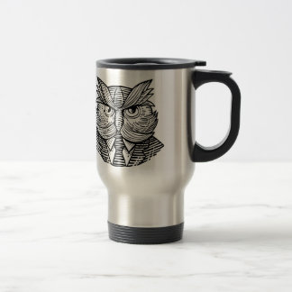 Hip Wise Owl Suit Woodcut Travel Mug