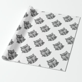 Hip Wise Owl Suit Woodcut Wrapping Paper
