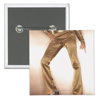 Hip woman in gold disco dancing 2 inch square button