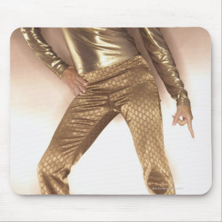 Hip woman in gold disco dancing mouse pad