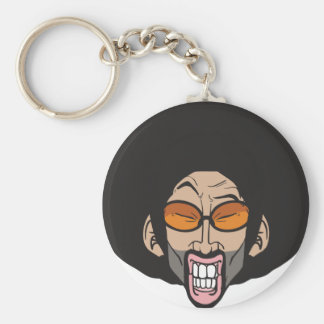 Hiphop Afro man Basic Round Button Keychain