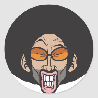 Hiphop Afro man Round Sticker