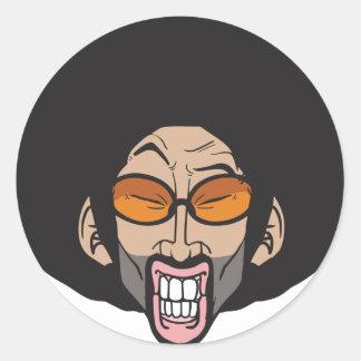 Hiphop Afro man Round Sticker