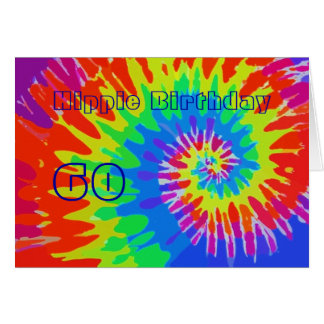 Hippie Birthday 60th Groovy Tie-Dye Card