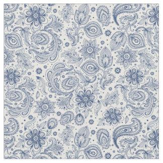 Hippie Blue Vintage Floral Pattern Fabric