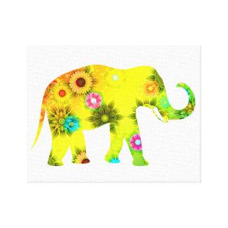 Hippie Bohemian Floral Elephant Canvas Print